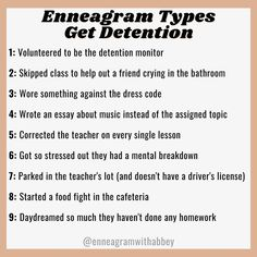 """Abbey Howe on Instagram: """"What landed you in detention in high school? 🤔"""" All 9 Enneagram types have their own story haha. Enneagram Types, Feeling Stuck, In High School, Essay Writing, Self Development, Coding, Teacher, Professor, Programming"""