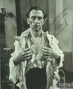 Phil Leaky make-up test shot featuring Peter Cushing for CURSE OF FRANKENSTEIN (1957)