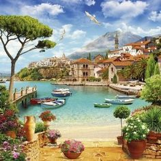 Photo paper on request for any size, 20 types … - Painting Watercolor Landscape, Landscape Art, Landscape Paintings, Beautiful Paintings, Beautiful Landscapes, Beautiful Places, Beautiful Pictures, Pictures To Paint, Painting Inspiration