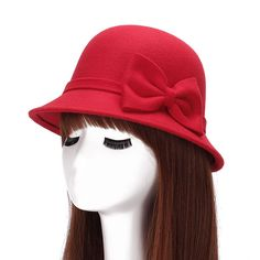 New Autumn and Winter Elegant Women's Fashion Cap Ladies bowknot Bucket Hat Women Small Fedoras Hat Cloche Headwear