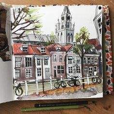 Watercolor Journal, Watercolor Paintings, Watercolours, Line Artwork, Urban Sketchers, Pencil Illustration, Delft, Line Drawing, Art And Architecture
