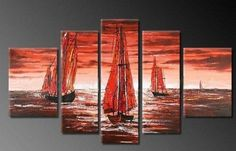 Sailing Boat at Sea Abstract Wall Canvas Art Sets Painting for Home Decoration 100% Hand Painted Oil Painting Modern Art Large Canvas Wall Art Free Shipping 5 Piece Canvas Art Unstretch and No Frame by Canvasart, http://www.amazon.com/dp/B009QYKHCW/ref=cm_sw_r_pi_dp_JHLRrb07GDJS3