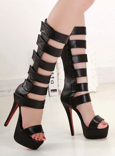 Stiletto High Heel Gladiator Sandals...I saw one of the mom's at my daughter's school show up in these to pick up her daughter the other day...