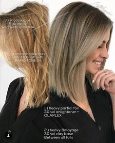 "How cool is it that Lauren Wheeler (@Lo_Wheelhouse), a stylist and owner of Wheelhouse Salon in San Clemente Beach, CA, so efficiently—and generously—shares her process and formula on Instagram with these photos and text? Very cool. ""I applied my foils ear-to-ear and part way down the crown and I foiled mostly the dark roots,"" says Wheeler. Read both the instructions on the image and those below to see how his talented colorist transitioned her client's warm blonde into an icy beige blonde."