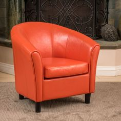 online shopping for Christopher Knight Home 213807 Napoli Bonded Leather Club Chair, Orange from top store. See new offer for Christopher Knight Home 213807 Napoli Bonded Leather Club Chair, Orange Living Room Chairs, Home Living Room, Living Room Furniture, Dining Room, Leather Club Chairs, Barrel Chair, Bonded Leather, Accent Chairs, Upholstery