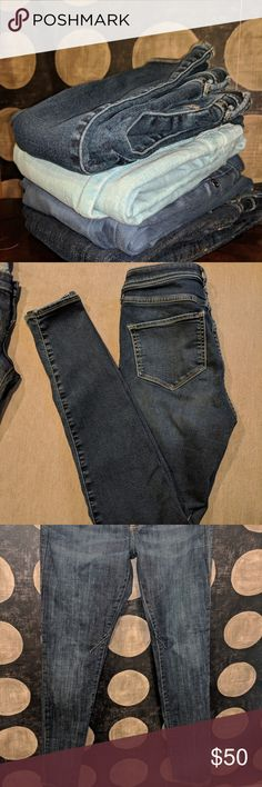 SALE! 4 Skinny jeans Sz 2 J. Crew Rock & Republic The Hollister pants are a size 3 but as you can see in the picture they are the smallest pair. They are also more of a jean legging so they offer more stretch than the other three pairs of size 2's. Brands are Rock & Republic, Simply Vera, J. Crew (toothpick), and Hollister. All in great condition, aside from the brand name wearing off the inside waist band on the Simply Vera pair, as shown. J. Crew Jeans Skinny
