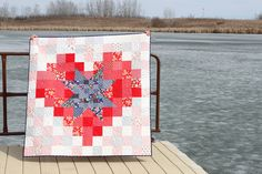 Handmade lap quilt for sale, Star in a Heart Quilt, Red White and Blue Quilt, Nautical Quilt, Independence Day Quilt, Homemade Quilt, Throw by DaydreamsOfQuilts on Etsy