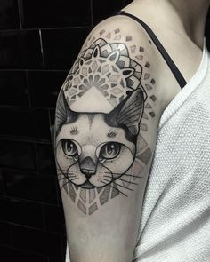 Cat portrait tattoo with dotwork pattern mandala by Miss Sita Done at @oneoninetattoo Follow on instagram: @misssita