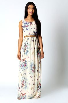 Fionna Chiffon Butterfly Print Open Back Maxi Dress would be so pretty with a chambray shirt worn with its tails tied in the front