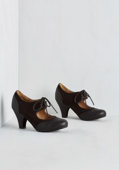 It's a Sure Fete Heel in Black. From birthday bashes to casual dates, you better believe these vegan faux-leather heels are a reliably stylish pair to wear! #black #modcloth