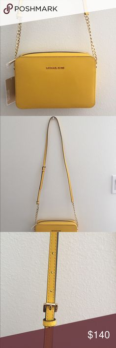 Michael Kors Jet Set Travel Large Crossbody leather, completely new with tags color: sunflower MICHAEL Michael Kors Bags Crossbody Bags