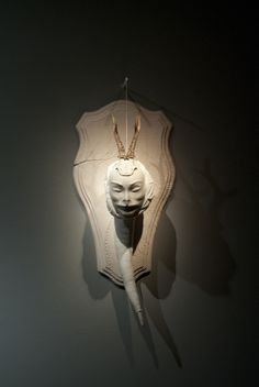 Fabiana Guerrini Infestanti terracotta dipinta a freddo, stoffe e materiali vari, 75 x 42 x 40 cm. 2013 Terracotta, Lion Sculpture, Museum, Art, Fabrics, Terra Cotta