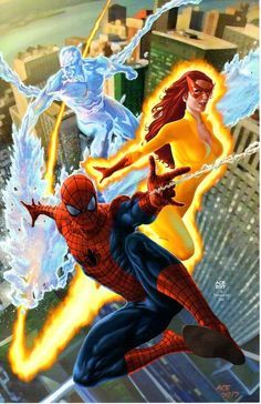 Spider-Man (Peter Parker), Firestar (Angelica Jones) & Iceman (Bobby Drake) Spidy and his amazing friends Marvel Comics Amazing Spiderman, Spiderman Art, Spiderman Images, Marvel Comics Art, Marvel Heroes, Marvel Comic Character, Marvel Characters, Firestar Marvel, Marvel Universe
