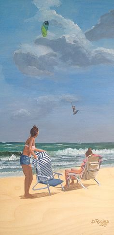 Beach, beach chair, seascape, kite surfing, people on the beach, painting, artwork, painting on wood panel, seascape painting, beach painting, painting of people at the beach