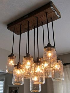 Brighten up a room with this mason jar chandelier