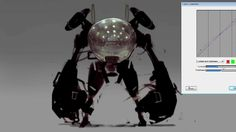 "Further practice of metallic surfaces. This time using the lessons from the photo ref practice to create a shiny mech without reference.  Link to final image: http://sinix.deviantart.com/art/4C-30...  Done in Painter 12 using the ""Thick and Thin Pen""."