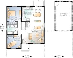 2-Bed Traditional Ranch Home Plan with Detached Garage - 21578DR | Architectural Designs - House Plans Bungalow Floor Plans, Small House Floor Plans, Cottage Style House Plans, Ranch House Plans, Cottage House, Electrical Layout, Traditional House Plans, Roof Plan, House Blueprints