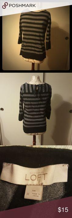 LOFT grey black striped sweater 3/4 sleeve black and grey striped sweater with pockets LOFT Sweaters Crew & Scoop Necks