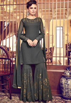 Dark Grey Swiss Georgette Embroidered Party Wear Pakistani Suit Product Details : Look your ethnic best by wearing this dark grey color pakistani salwar kameez. Made of swiss georgette, this suit comes with swiss georgettebottom and ATG silk inner. Sharara Designs, Lehenga Designs, Kurti Designs Party Wear, Pakistani Dress Design, Pakistani Outfits, Indian Outfits, Emo Outfits, Designer Party Wear Dresses, Indian Designer Outfits