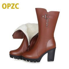 79a48e840 Женская обувь; женские ботинки из натуральной кожи; зимние сапоги на высоком  каблуке; ботинки в байкерском стиле с шерстяной подкладкой; бесплатная  доставка ...