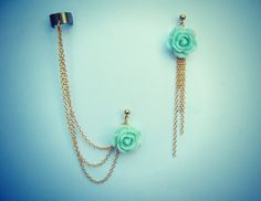 mint rose ear cuff and earrings, chain ear cuff, ear cuff with gold chains, asymmetrical earrings
