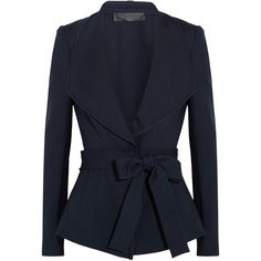 Donna Karan New York Belted crepe jacket featuring polyvore, fashion, clothing, outerwear, jackets, blazers, blue, belted jacket, blue jackets, sash belt, crepe jacket and draped jacket