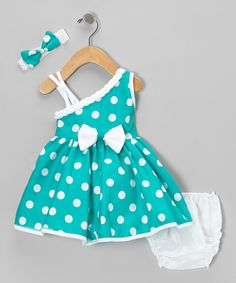 Take a look at this Green Polka Dot Asymmetrical Dress Set - Infant on zulily today!