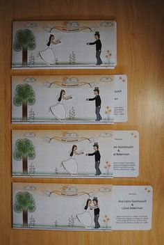 Tarjetas de casamiento hechas a mano con movimiento.Handmade wedding cards with movement.