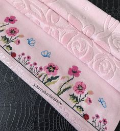 Towel, Hand Embroidery Flowers, Embroidered Towels, Bathroom Towels, Embroidery Ideas, Cross Stitch Embroidery, Cross Stitch Designs, Herb, Towels