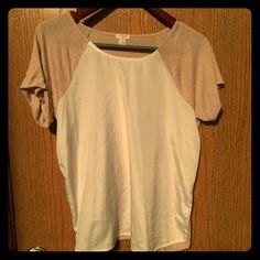 J. Crew Factory mixed media baseball tee M J. Crew Factory mixed media baseball tee M, with knit sleeves and back in tan and fromt woven panel in ivory color. Only worn a few times, in very good condition. Price is firm. No paypal or trades. Thanks :) J. Crew Tops Tees - Short Sleeve