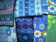 lovely selection of vintage fabrics from http://myrainbowvintagehome.blogspot.co.uk/