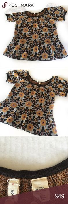 Anthropologic Moth wool blend peplum top Anthropologie moth wool blend short sleeve  top. Beautiful floral print in fall colors! Anthropologie Tops