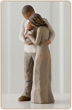 """Willow Tree Figurine-We are Three """"It used to be just you and me, Now we are three - a family!"""""""