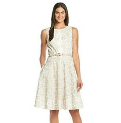 Anne Klein® Floral Embriodered Fit And Flare Dress at www.bergners.com I wore this to M.J.'s graduation.