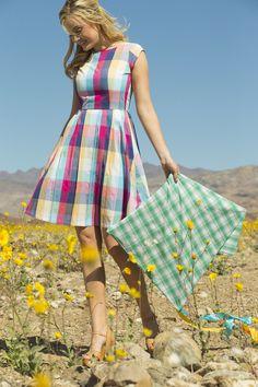 Shabby Apple Blossom Cotton Plaid Dress Multicolor