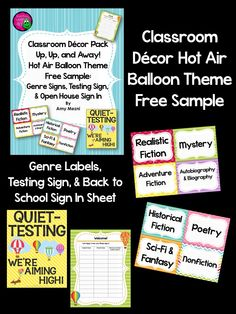 Hot Air Balloon Editable Classroom Theme Decor  Hot Air Balloons
