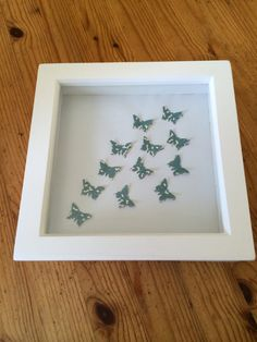 3D white boxed Frame  with green pattern by sweetpeaandblue, £15.00