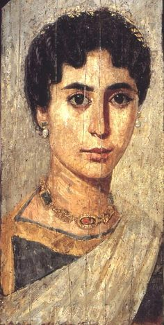 The Fayum mummy portraits date back to the Roman occupation of Egypt, possibly as early as the late century BCE, and most certainly from the century CE through the This is NOT a portrait of Hypatia, merely one from her era. Ancient Rome, Ancient Greece, Ancient Art, Ancient History, Women In History, Art History, History Photos, Egyptian Eye Makeup, Greek Makeup