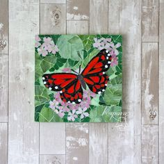 Home decor Butterfly Mosaic, Mosaic Birds, Butterfly Wall Art, Butterfly Painting, Mosaic Art, Mosaic Glass, Red Butterfly, Mosaic Animals, Mosaic Garden
