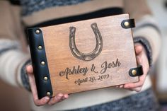 Horseshoe Guest Book Western Wedding Lucky Guest Book for Ranch Walnut Wood Color, Southwestern Wedding, Country Barn Weddings, Western Weddings, White Pages, Memory Books, Great Memories, Wedding Guest Book, Wedding Colors