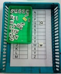 Atelier autonome - correspondance maj et min Kindergarten Language Arts, Kindergarten Lesson Plans, Kindergarten Literacy, Teaching Activities, Teaching Tools, Montessori Materials, Art Montessori, Busy Boxes, Alphabet For Kids