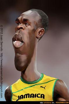 Caricatura de Usain bolt.
