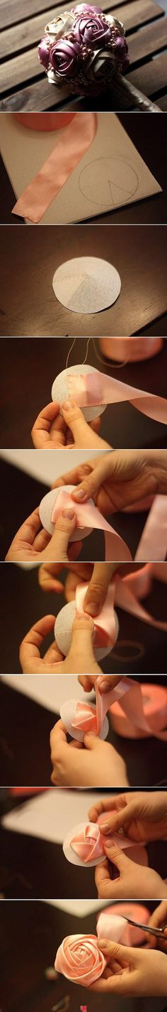 Easy ribbon flower with the help of paper. Link is the same as these pictures which is enough. I think this would be great for a bridal shower or rehearsal.