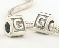 CLLE02-G 925 Sterling Silver Triangle Alphabet letter G Pandora Charms beads  Gabriel