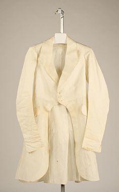 """Men's linen coat, American, 1840s. Marking in right pocket: """"John Allen, 118 Pearl St., N.Y."""""""