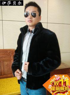 Marten 2017 winter overcoat male zipper with a hood men's clothing mink fur coat Men