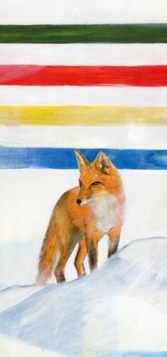 Icon 4 Fox Hudson Bay Blanket, I Icon, Oil Painting On Canvas, Fox, Foxes