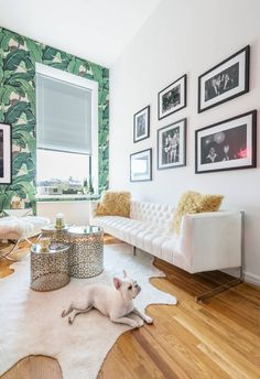 I LOVE banana leaf wallpaper and crisp white walls. This space is a great idea for a rented apartment. Not to much stuff that you can't remove when moving out!