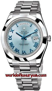 218206 IBLDRP - Rolex Oyster Perpetual Day-Date II Watches. The Rolex President. 41mm platinum case, polished bezel, ice blue dial, blue Roman numerals and hands, and President bracelet. - See more at: http://www.worldofluxuryus.com/watches/Rolex/Day-Date/218206-ibldrp/641_643_5008.php#sthash.V4ynjkti.dpuf
