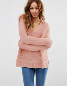 Image 1 of ASOS Ultimate Chunky V Neck Jumper with Stitch Detail